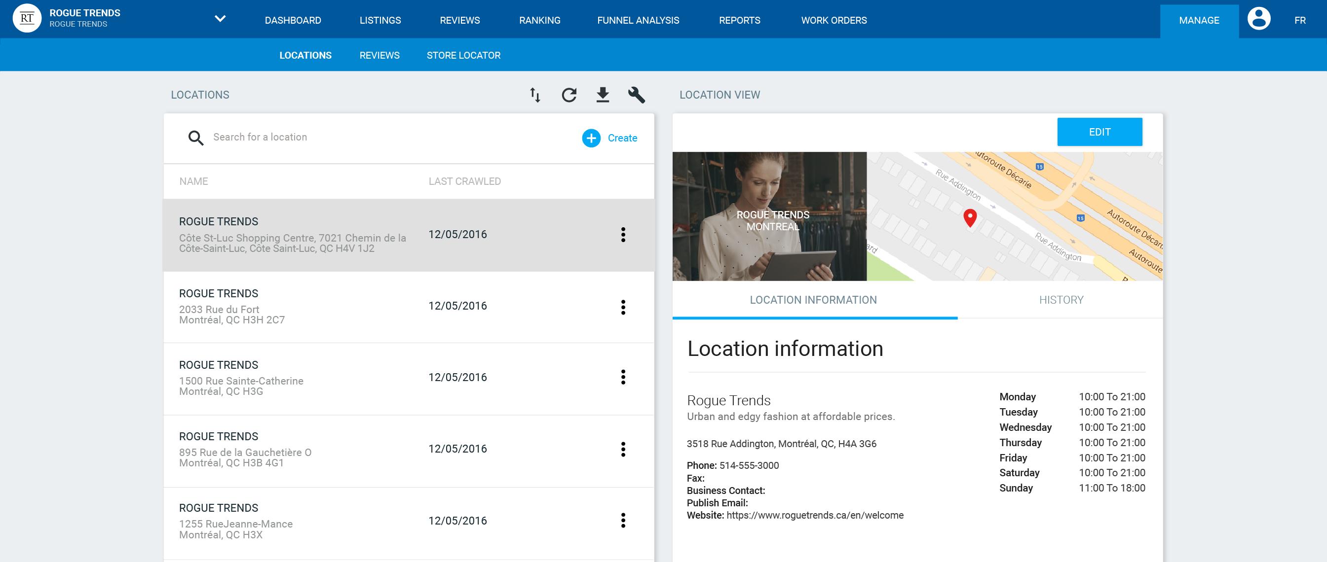 location content management system