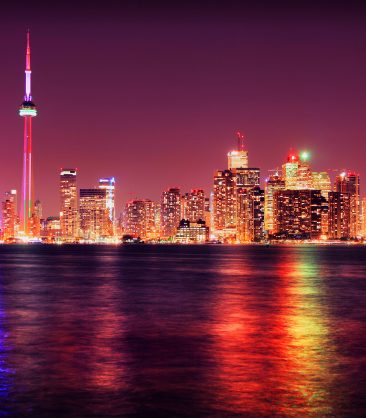 Colorful Toronto City at night